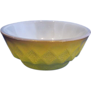 Fire-King Kimberly Yellow Brown Diamonds Pattern Cereal Bowl