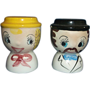 Hand Painted Lady Gentleman Salt Pepper Shakers Japan