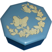 SALE Hong Kong Jasperware Style Blue Cream Butterfly Flower Trinket Box Plastic