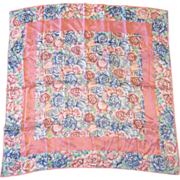 SALE Pink Blue Floral Silk Scarf Roses Carnations Tulips