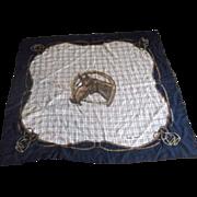 Ralph Lauren Equestrian Horse Plaid Scarf Square Fringe
