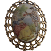 Fragonard Scene Oval Brooch Pin Gold Tone Filigree