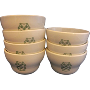 Green Coat of Arms Shield Crest Flat Bouillon Cups Set of Seven Restaurant Ware
