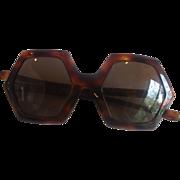 SOLD Plaza USA Hexagon Sunglasses Faux Tortoiseshell Vintage 1970s