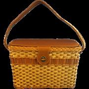 SALE Straw Wicker Leather Basket Purse