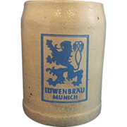 SALE Lowenbrau Munich Salt Glazed Beer Stein .5L Blue Grey