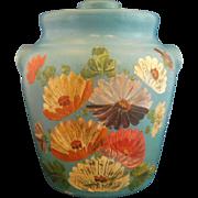 Ransburg Sky Blue Hand Painted Flowers Cookie Jar Stoneware Crock 1930s