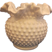 "SOLD Fenton Hobnail White Milk Glass Double Crimped 5 1/2"" Vase"