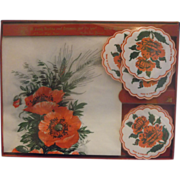 SALE Red Flowers Paper Napkin Coaster Drip Mats Set New In Box Freund Meyer