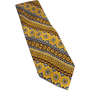 Pierre Cardin Tapestry Polyester Wide Vintage Tie Gold Brown Blue Burgundy