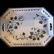 Cream Floral Hand Painted Pilgrim Art Tole Tray Platter
