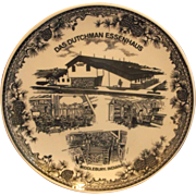 Das Dutchman Essenhaus Black Transferware Souvenir Plate Made in Japan
