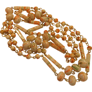 Orange Green White Swirled Beads Long Chain Necklace Faux Murano Art Glass