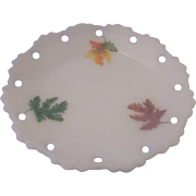 Milk Glass Embossed Fall Leaves Hand Painted Small Lace Edge Plate