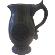 SOLD Colonial Williamsburg Blenko Art Glass Dark Green Creamer Small Pitcher