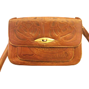 Flores Mexico Hand Tooled Leather Large Shoulder Bag Purse 1970s