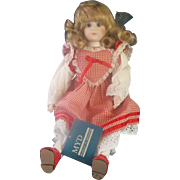 Marian Yu Designs Porcelain Doll Red Gingham Check Dress  1989