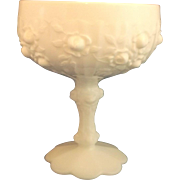 Fenton Rose Roses White Milk Glass Compote Footed Bowl