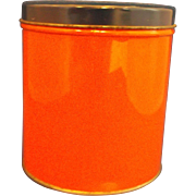 SALE Orange Canister Navy Blue Lid Small Vintage 1930s-40s