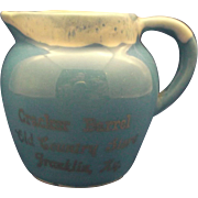 Paden City Pottery Artware Blue Drip Creamer Souvenir Cracker Barrel Old Country Store Frankli