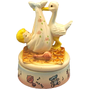 Stork Delivering Baby Hand Painted Pottery Music Box