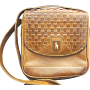 SOLD Hartmann by Lombardo Brown Leather Woven Crossbody Small Satchel Saddlebag Purse