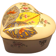 Mann, Seymour Tobacco Leaf Pattern Heart Shaped Trinket Box Made in Japan 1977