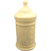 SOLD Atterbury Scroll White Milk Glass Apothecary Jar - Red Tag Sale Item