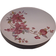 Pink Flower Melmac Dinner Plates Set of 6