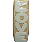 SOLD McCoy With Love Pottery Vase Tan Gold Color