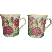 Lenox Rose Suzanne Clee Porcelain Mugs Pair Pink Roses