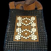 SALE Roger Van S Beaded Shoulder Bag Purse 1970s Black Brown White