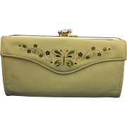 Lady Buxton Split Leather Green Butterfly Flowers French Clutch Wallet Purse