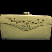 SALE Lady Buxton Split Leather Green Butterfly Flowers French Clutch Wallet Purse