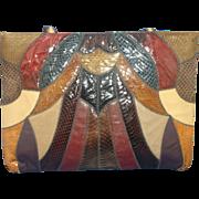 Caprice Snakeskin Lizard Karung Patchwork Tote Bag Purse Huge Multicolor