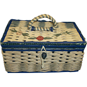 SALE Small Straw Woven Sewing Basket Box Blue Trim Flowers Made In Japan