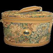 SOLD Diane Von Furstenberg Tapestry Train Case Overnight Bag Oval Luggage 1980s