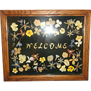 SALE Pressed Dried Flowers Welcome Sign Framed