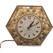 SALE General Electric Mosaic Pattern Tile Earth Tones Wall Clock Electric