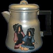 Wear-Ever Aluminum Coffee Pot Hand Painted Folk Art
