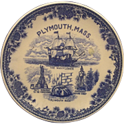 Plymouth, Mass Flow Blue Souvenir Plate Transferware