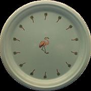 SALE Marble Canyon Turquoise Enamel Pink Flamingo Palm Trees Platter Round Tray