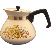 SOLD Corning Ware Bantry 6 Cup Teapot Yellow Flowers Red Strawberries Grey Leaves