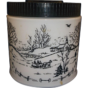 SOLD Milk Glass Canister Jar Black Plastic Lid Winter Scene Maxwell House Coffee - Red Tag Sal