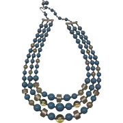 Triple Strand Necklace Blue Cream Iridescent Beads Signed Japan