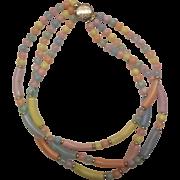 SALE Pastel Lucite Triple Strand Necklace Pink Blue Purple Yellow