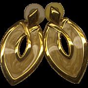 SALE Napier Enamel Yellow Cream Beige Curved Diamond Dangle Earrings 1980s