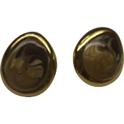 SALE Brown Cream Swirled Enamel Teardrop Earrings