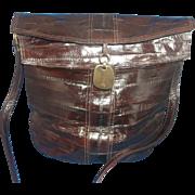 SOLD Dark Brown Eelskin Eel Skin Leather Purse Bucket Style Eiffel Tower Fob - Red Tag Sale It