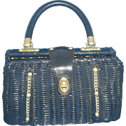 Navy Blue Wicker Basket Purse Made in Hong Kong Cheri